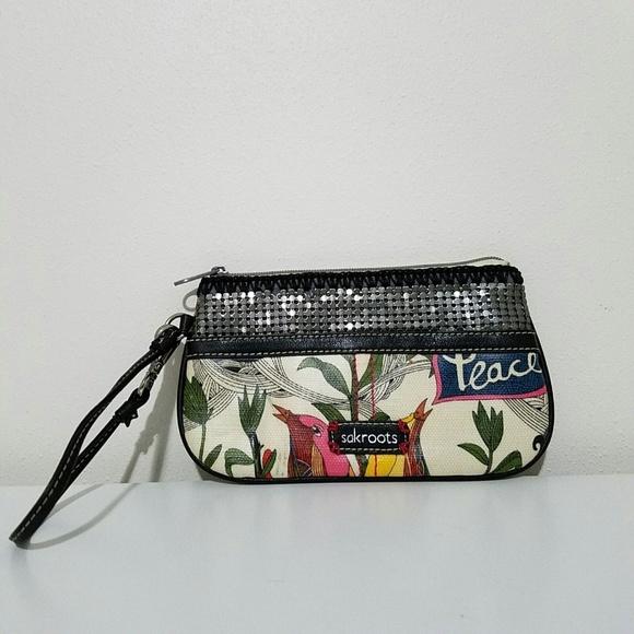 Sakroots Handbags - Sakroots Peace Wristlet Wallet Pouch Zip Clutch